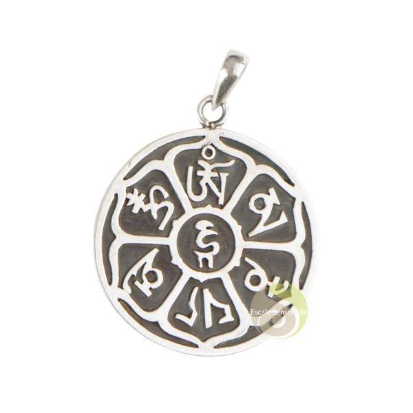 Pendentif Mantra Tibétain Argent 925 Om Mani Padmé Hum Bijoux Fantaisies Escale Sensorielle