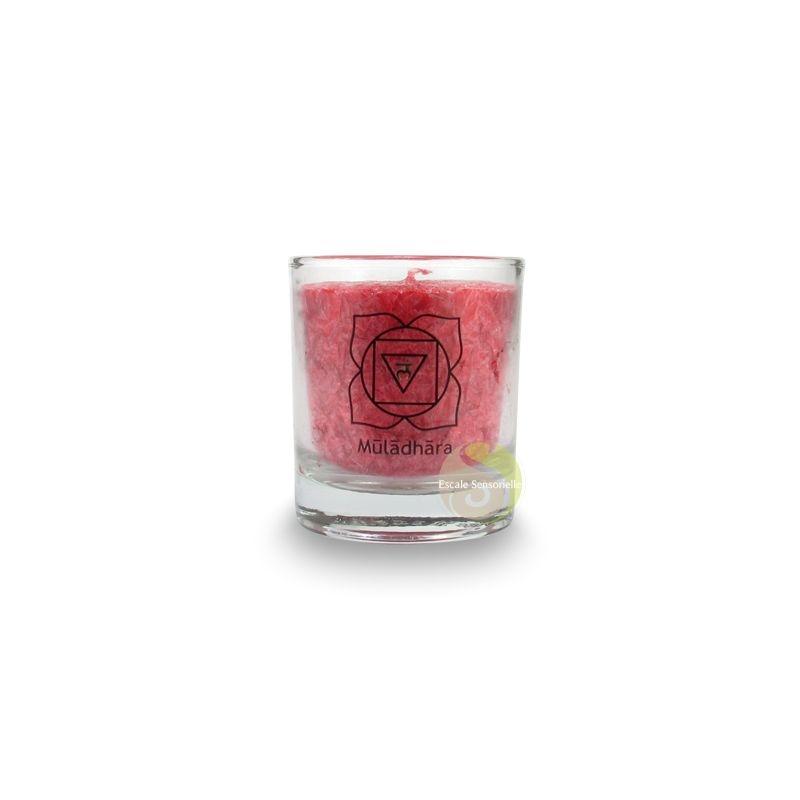 Bougie parfum/ée vague arc-en-ciel 7 chakras 21 x 6,5 cm Certifi/é /équitable WFTO St/éarine dur/ée 70-75 heures ch/èvrefeuille et c/èdre z/éro lumi/ère bougie ondul/ée