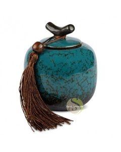 Boite à thé bleu marbré