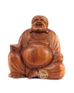 Statue Bouddha en bois rieur 17cm