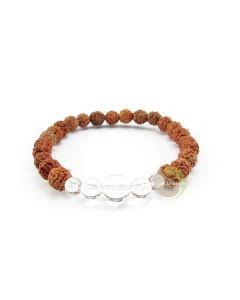 Bracelet rudraksha & cristal de roche