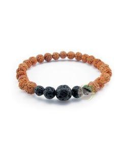 Bracelet rudraksha & pierre de lave
