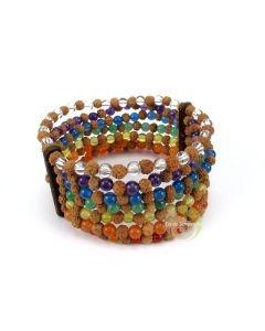 Bracelet manchette rudraksha, coco 7 chakras pierres minérales