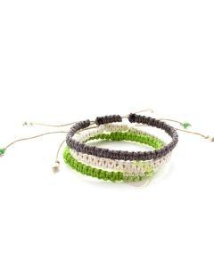 Bracelets ajustables chanvres arc-en-ciel macramé bijoux fantaisies