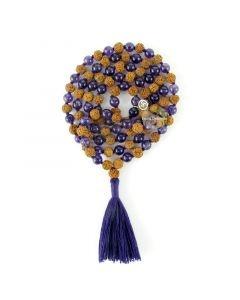 Mala 108 perles méditation turquoise rudraksha