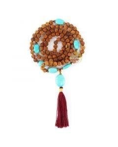 Mala collier bohème chic bijoux turquoise graines de rudraksha