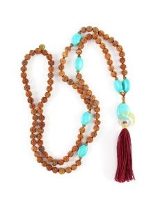 Collier mala rudraksha turquoise & or