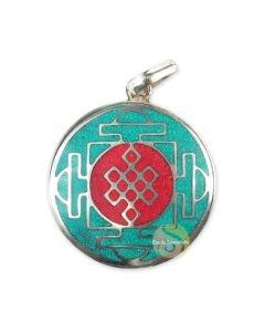 Pendentif noeud infini tibétain turquoise argenté