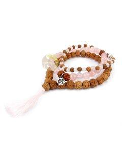 Bracelet rudraksha graines de Shiva 7 chakras pompon