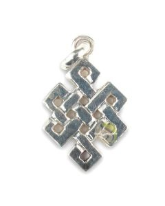 symbole tibétain pendentif nœud infini turquoise argenté