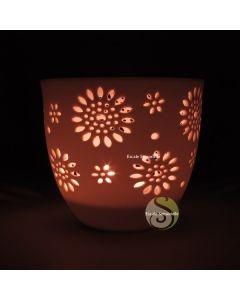 Photophore céramique ajourée fleurs
