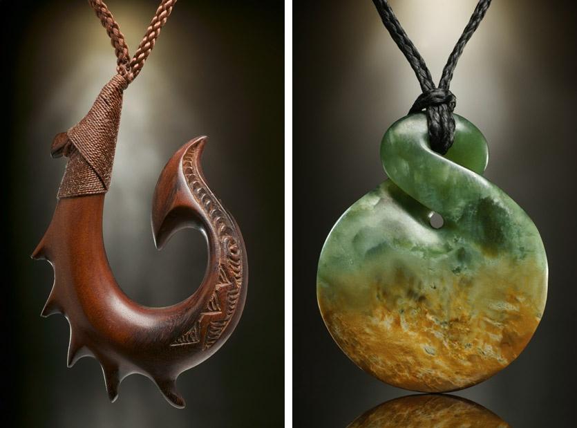 Maori-style Triple Twist Authentique Vert naturel jade jade Pendentif